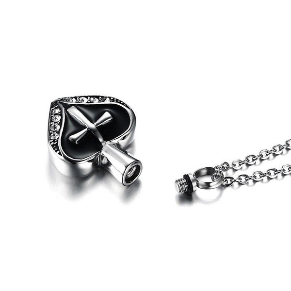 Cremation Necklace - Women's Silver Rhinestone Heart Shaped Cremation Urn Necklace With Cross