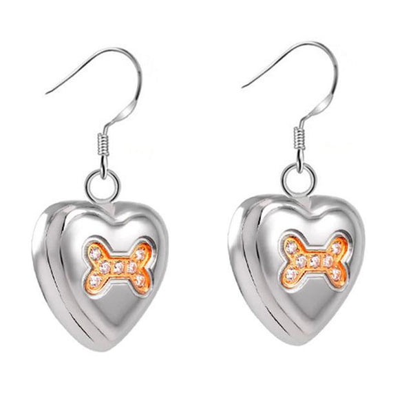 Earrings - Heart Shaped Cremation Urn Earrings With Dog Bones & Gemstones