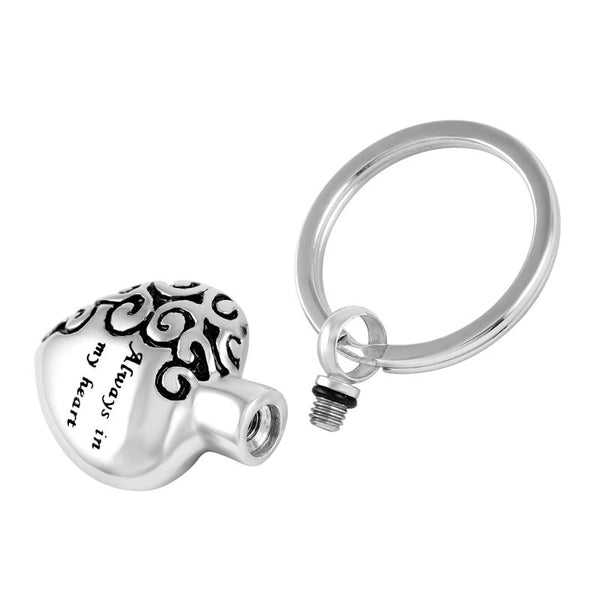 "Keychain - ""Always In My Heart"" Silver Cremation Urn Keychain"