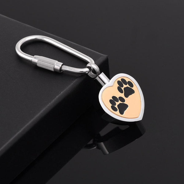 Keychain - Heart Shaped Cremation Urn Keychain With Paw Prints
