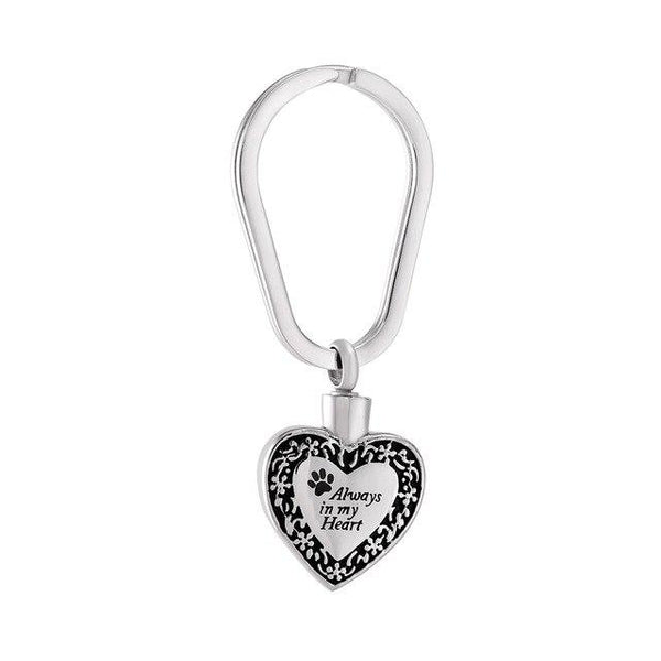 "Keychain - Heart Shaped Cremation Urn Keychain With Pet Paw & ""Always In My Heart"""