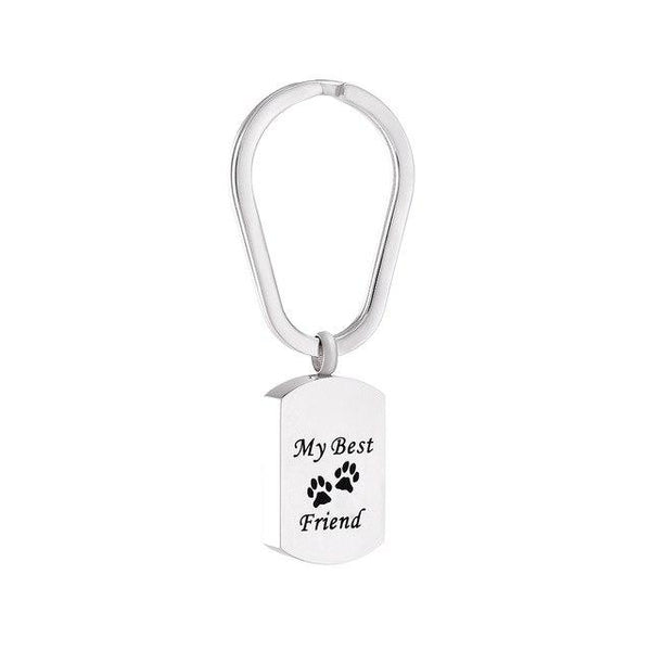 Keychain - Silver Cremation Urn Keychain Dog Tag With Pet Paw