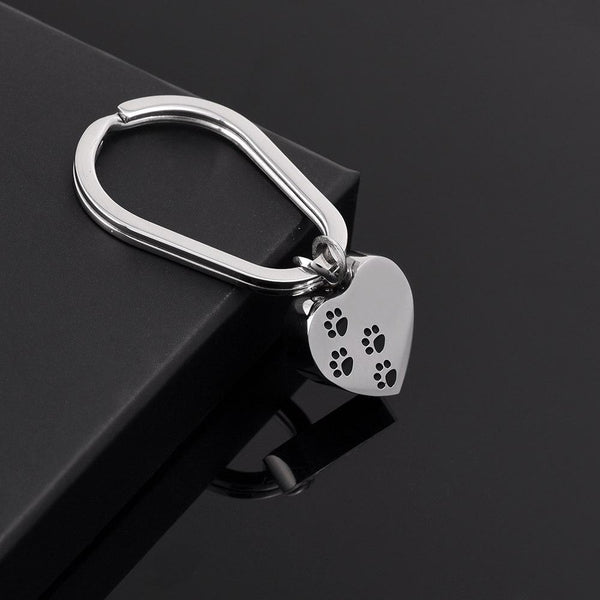 Keychain - Simple Heart Shaped Cremation Urn Keychain With Pet Paws
