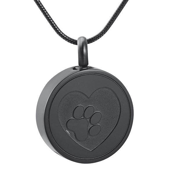 Paw Print Cremation Urn Necklace Etched With A Heart