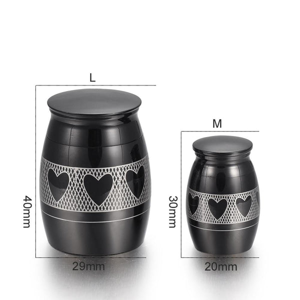Urn - Modern Heart Etched Cremation Urn For Ashes