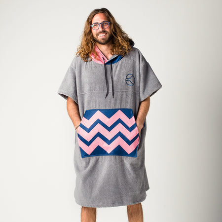 Grey Wavy Purple Crush Poncho