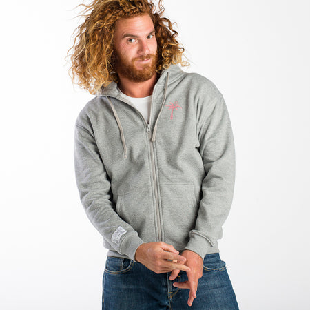 Palm Tree Grey Zipped Hoodie