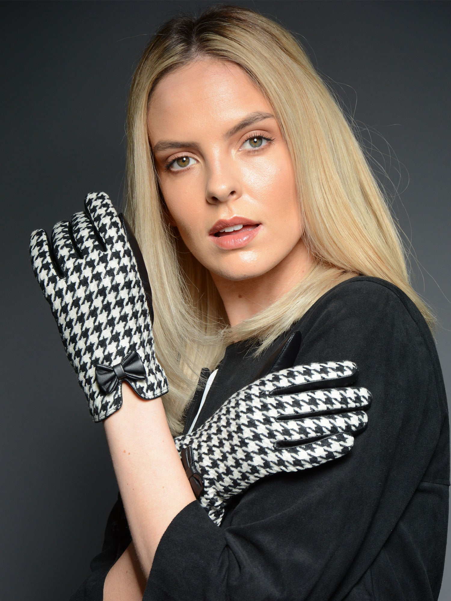 Houndstooth Women's Luxury Warm Leather Gloves