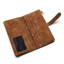 2017 New Fashion Women Wallets Drawstring Nubuck Leather Zipper Wallet Women's Long Design Purse Two Fold More Color Clutch