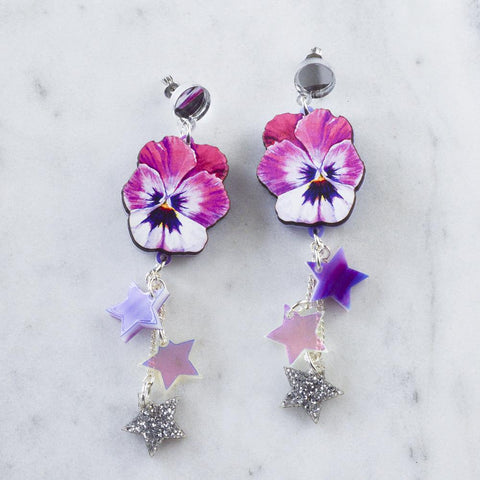 98fc5f0df WATERCOLOUR PANSY SHOOTING STAR EARRINGS. WATERCOLOUR PANSY SHOOTING STAR  EARRINGS. Esoteric London