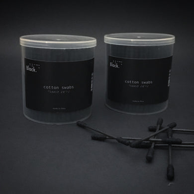 All Black Biodegradable Cotton Swabs with Paper Stems  200 count