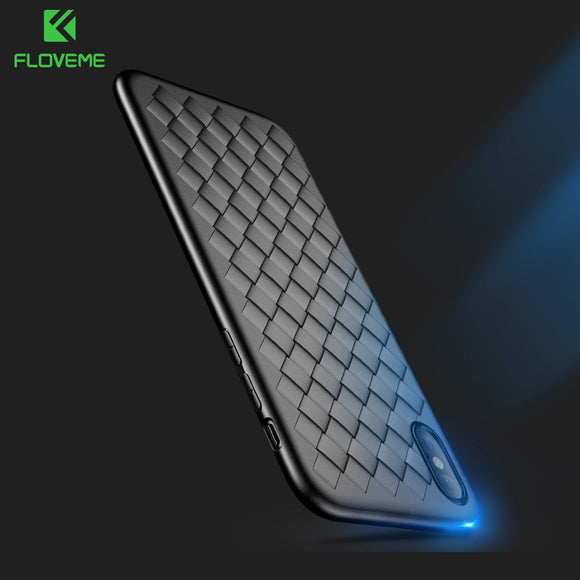 Super Soft Phone Case For iPhone Luxury Grid Weaving Cases For iPhone 6 6s 7 8 Plus X Cover Silicone Accessories Black