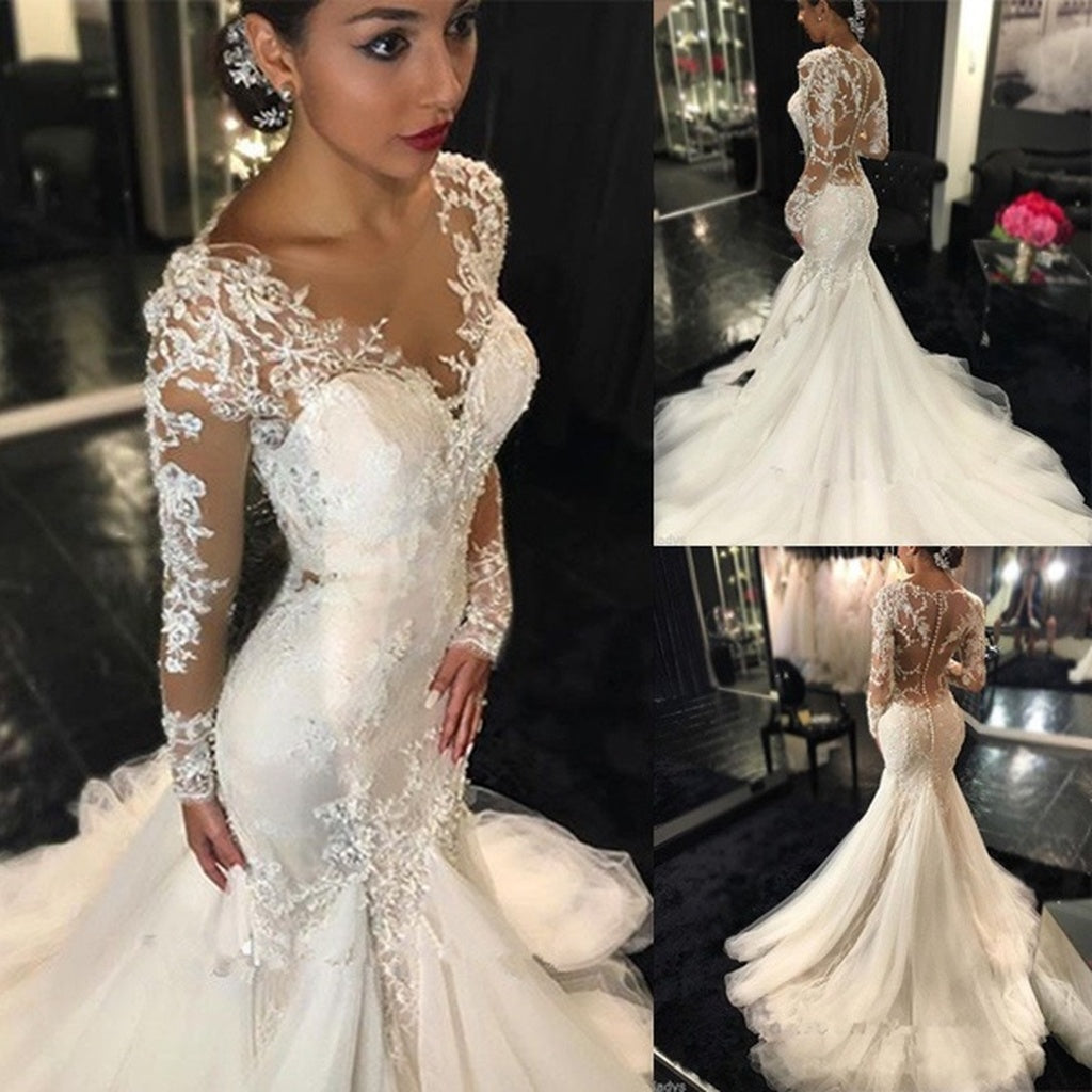 White Lace Long Sleeves V-neck Mermaid Applique Lace Wedding Bride ...