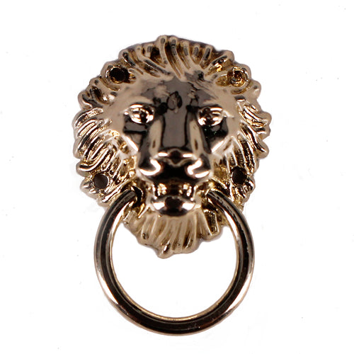 50piece Metal Gold Lion Head with Ring Hooks Rivets Charm  Sewing Garment Rivets Decorated Sew On Accessories for Clothes K486