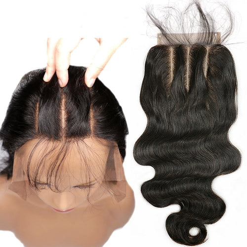 3 Part Lace Closure 4x4 Body Wave Human Hair Closure Piece with Human Hair Natural Black Color - icollectstore