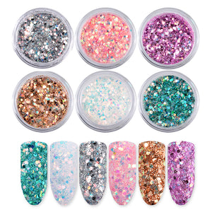 6boxes/set Laser Mixed Nail Glitter Powder Sequins Shinning Colorful Nail Flakes 3d DIY Charm Dust For Nail Art Decorations - icollectstore