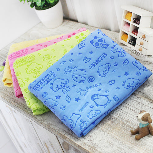 Cartoon dog pet cat Absorbent microfiber Bath towel bathrobe Quick dry Suede material dog hair dry towel for dogs - icollectstore