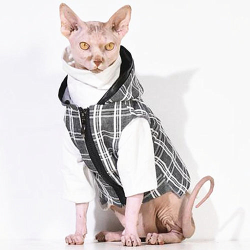 Customized Pet Cat Clothes Hoodie Overall for Cats Coat Jacket Cornish Devon Rex Sphynx Canadian Hairless Clothing 12b20q