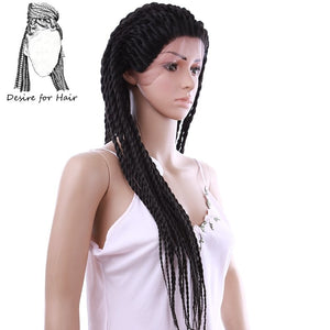 Desire for hair 28inch 71cm long pre twisted 2X twist braids synthetic lace front wigs for black woman