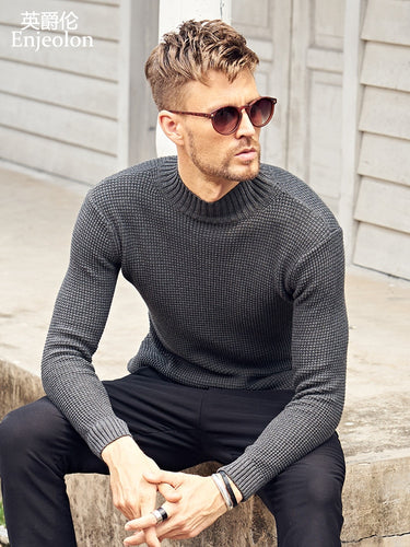 Enjeolon brand winter Turtleneck knitted pullover men warm Sweaters men solid cotton sweater Men pullover Sweater MY3215