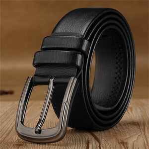 Men Solid Belts Genuine Leather Male Metal Buckle Fashion Luxury Brand Adjustable Casual Clothing Accessories High Quality