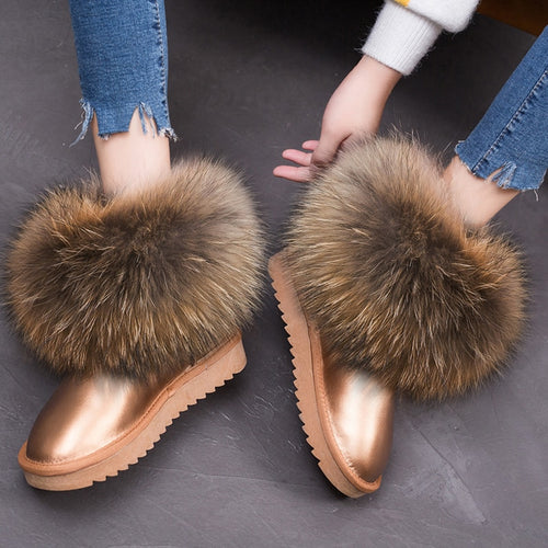 RUIYEE ladies winter boots leather snow boots fox fur women's boots 2018 new real hair warm shoes 1