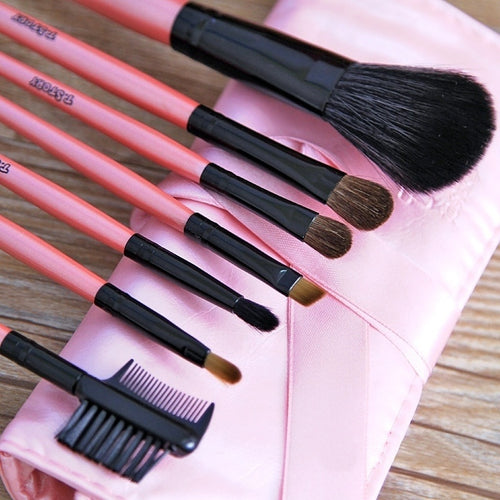 7pcs Professional Makeup Brush Set and Pink Case - icollectstore
