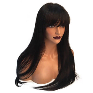 150% Straight Lace Front Human Hair Wigs With Bangs Brazilian Remy Pre Plucked Bleacehd Knots Lace Wigs For Black Women - icollectstore