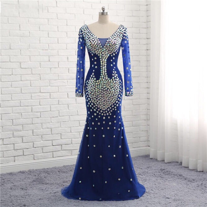 New Arrival Mermaid Evening Dress Huge Beading Long Sleeve Double V ...