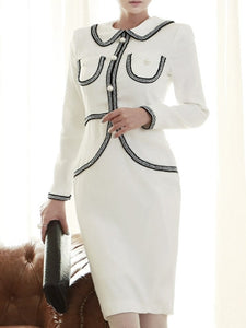 Beads Decorated Long Sleeve Women's Sheath Dress - icollectstore