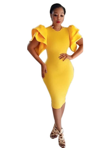 Yellow Falbala Women's Bodycon Dress - icollectstore