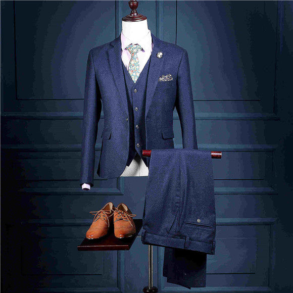 NA27 Jackets+Pants+Vest Man Solid Blue Suit Slim Wedding Groom Suits ...