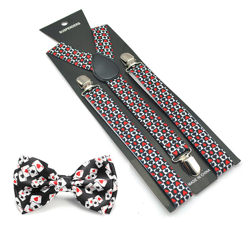 2017 GOOD Women Men Unisex 17 Colors Mix Suspender and Bowtie Set Y-Shape Poker Office Casual Bowtie Set - icollectstore
