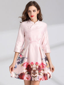 Pink 3/4 Sleeve Mandarin Collar Women's Day Dress - icollectstore