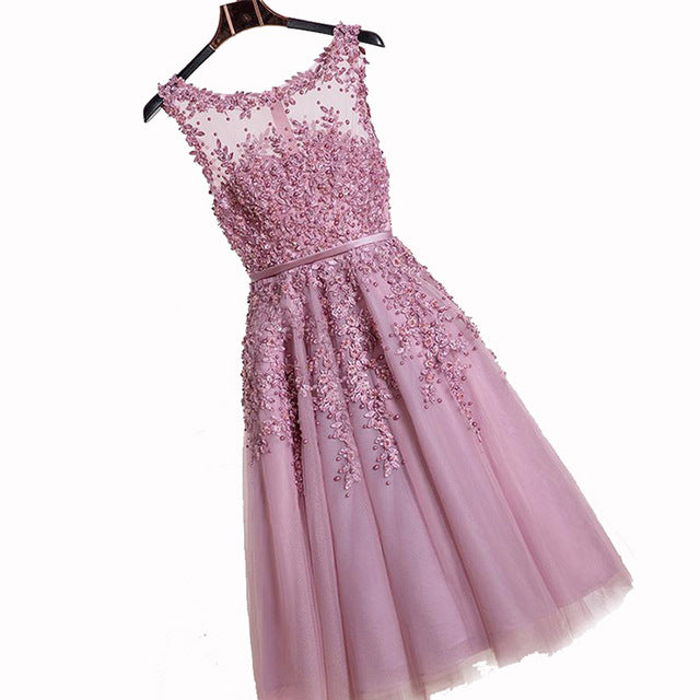 In Stock Dust Pink Beaded Lace Appliques Short Prom Dresses 2018 ...