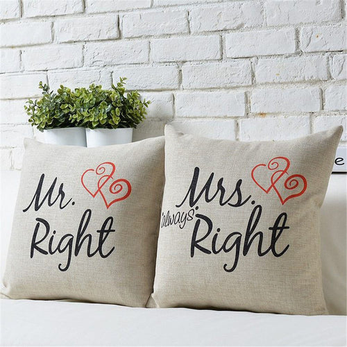 2Pcs Mr Mrs Cotton Linen Pillow Case Couple Lovers Cushion Cover 18 Inch - icollectstore