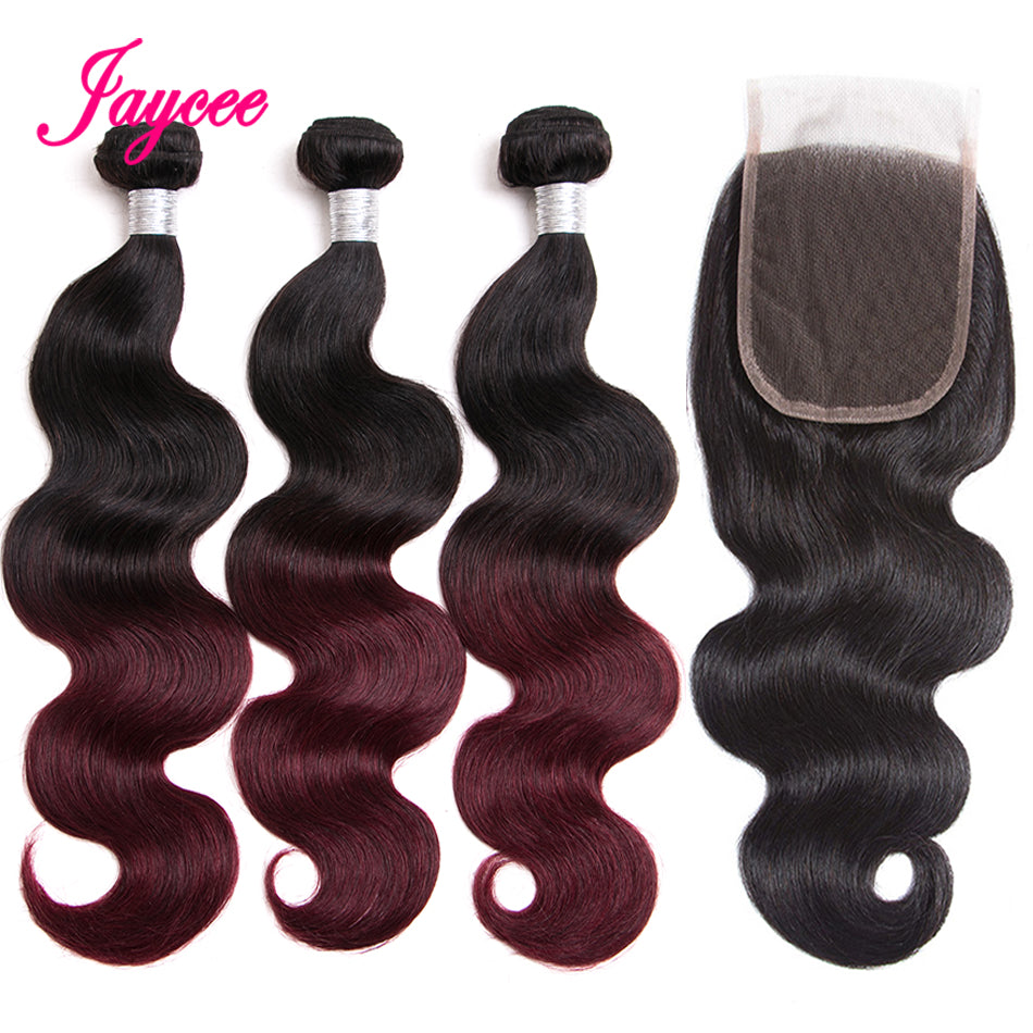 Ombre Brazilian Hair With Closure Burgundy Hair With Closure Two