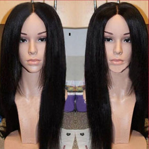 synthetic hair lace front wig/no lace wig middle part 3-4inch baby hair 1b# woman glueless lace wig