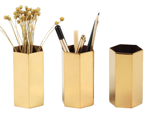 Stainless Steel Gold Pen Holder