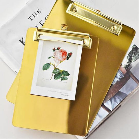 Gold Stainless Steel Clipboard