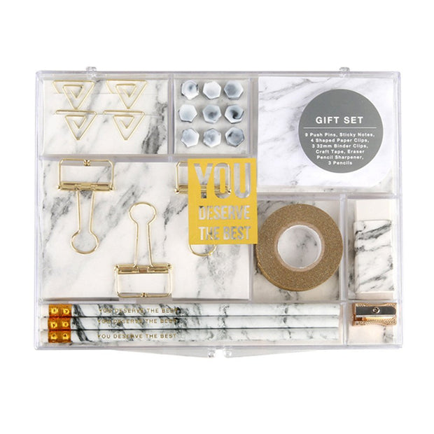 Marble White Stationery Set