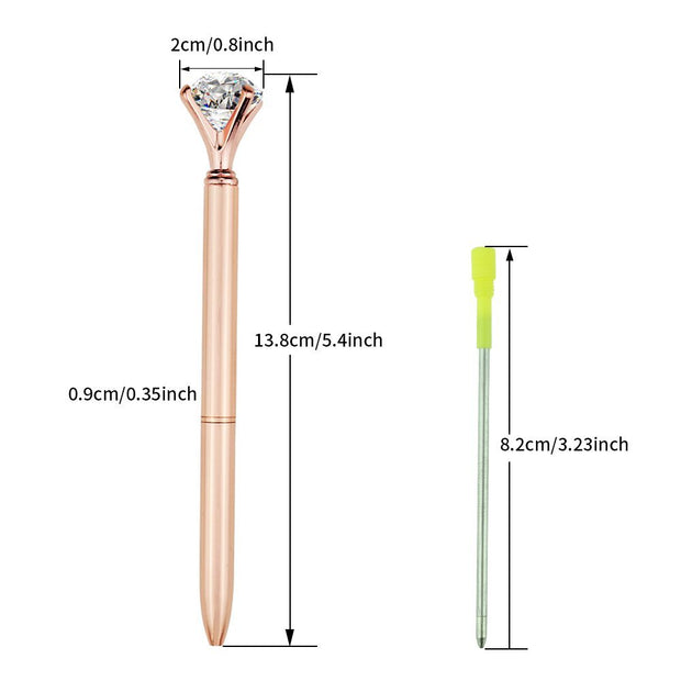 4 Pcs Rose Gold Pen with Crystal