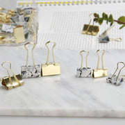 Marble White and Gold Binder Clips