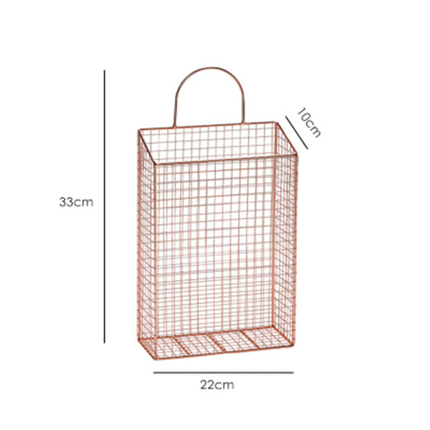 Wall Hanging Storage Basket - Metal Rose Gold