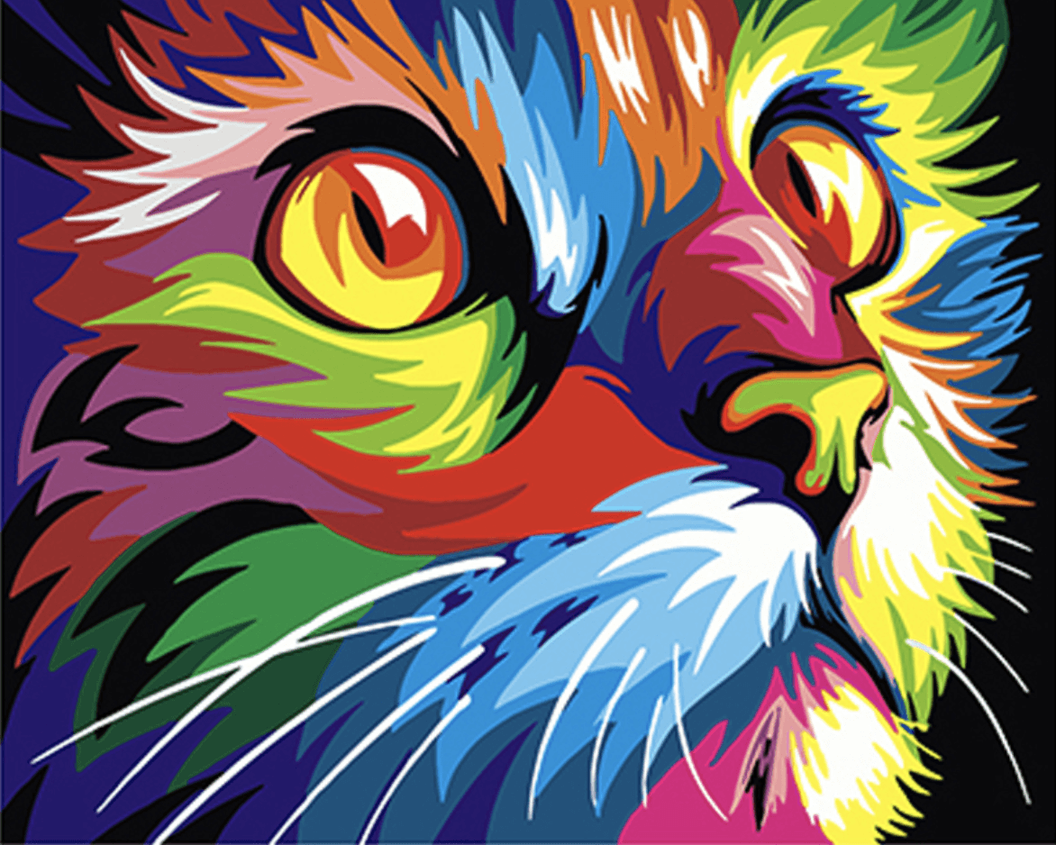 MNZ Katze Colorful (inkl. Leinwand & Farben)