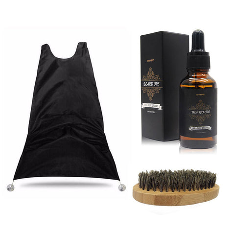All Natural Beard Oil with Beard Catcher and Wooden Brush (3-Piece Set)