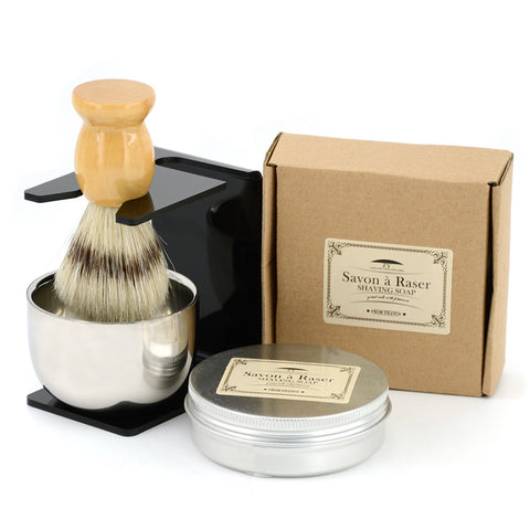 Beard Care Travel Shaving Kit - Shave Brush, Shave Bowl, Shave Soap, Shaving Stand