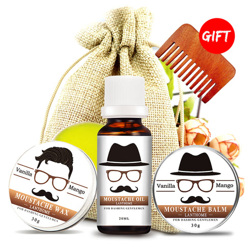 100% Natural Moustache and Beard Growth Oil / Beard Care Balm (4-piece Set)