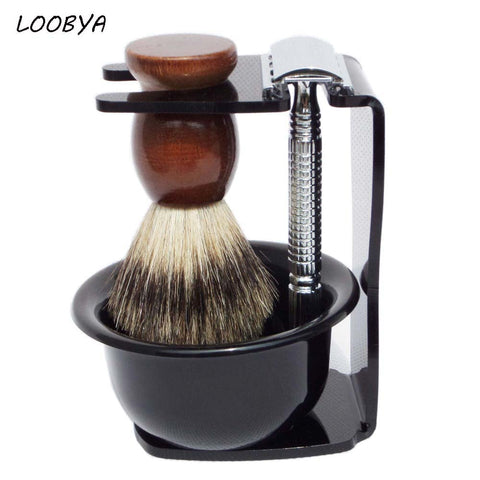 Men's Beard Shaving Stand with Quality Razor and Shaving Brush/Bowl (4-piece Set)