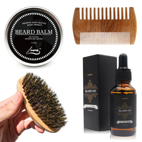 Beard Moisturizer Kit for Men - Wooden Beard Brush, Handmade Beard Comb, Unscented Beard Oil